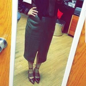 WHOMWHATWEAR  Faux Leather Pencil Skirt